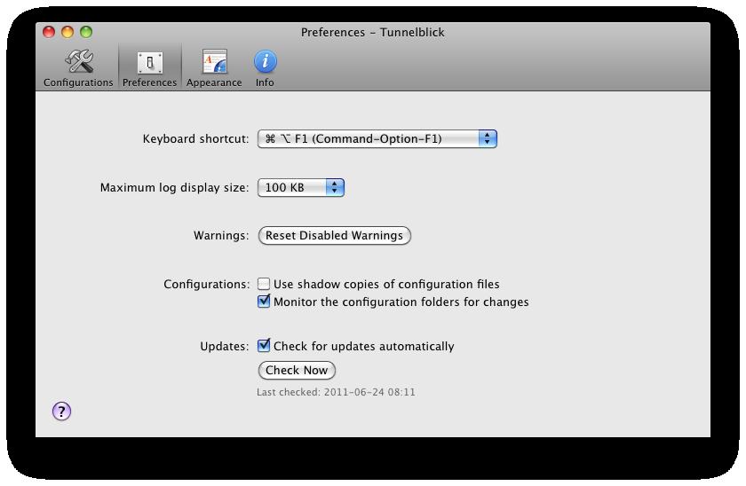 Tunnelblick 3.3.2 Mac software screenshot