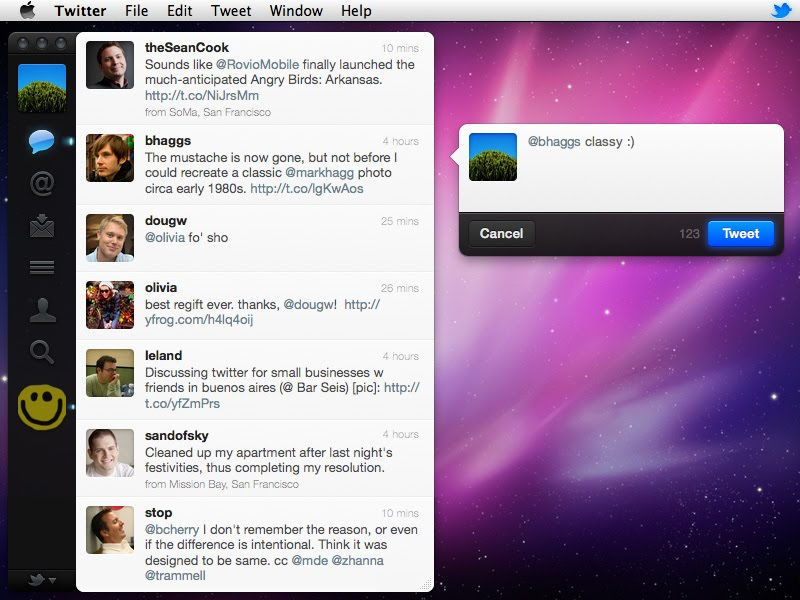 Twitter 3.0.1 Mac software screenshot