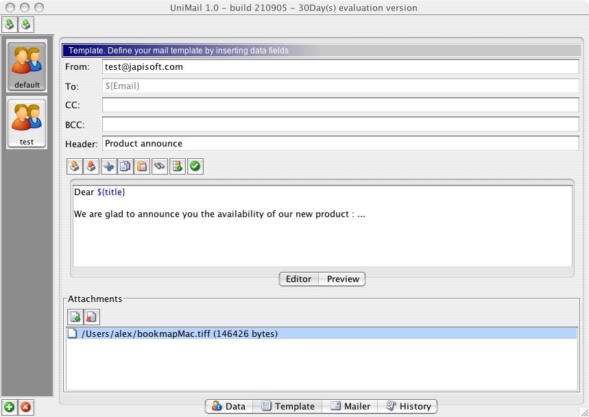 UniMailer 2.1.3 Mac software screenshot