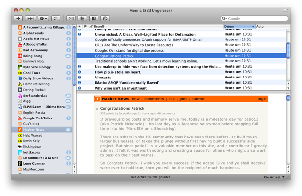 Vienna 2.6.0.2601 Mac software screenshot