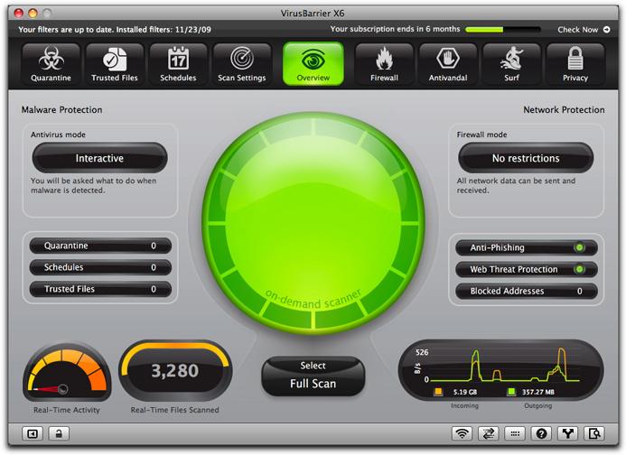 VirusBarrier X8 10.8.2 Mac software screenshot