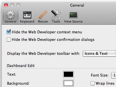 Web Developer 1.2.7 Mac software screenshot