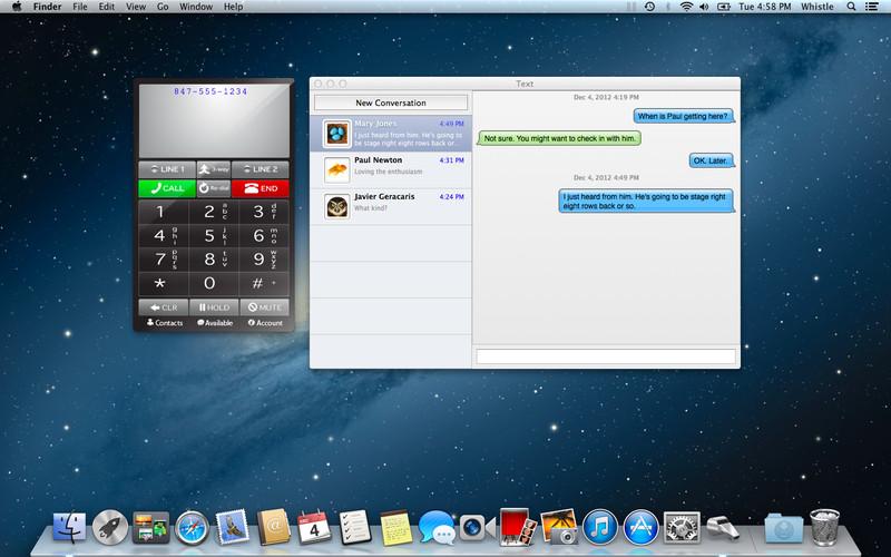 Whistle Phone 1.43 Mac software screenshot