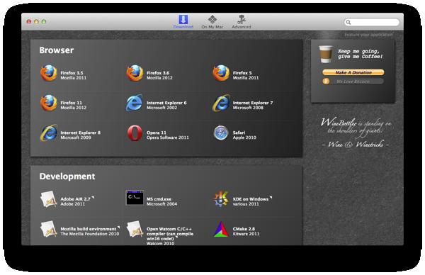 WineBottler 1.6.1 Mac software screenshot