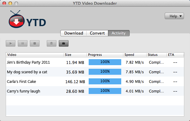 YTD Video Downloader 2.0 Mac software screenshot