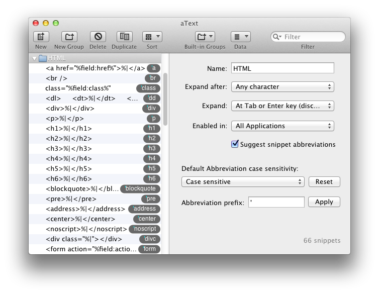 aText 1.9.0 Mac software screenshot