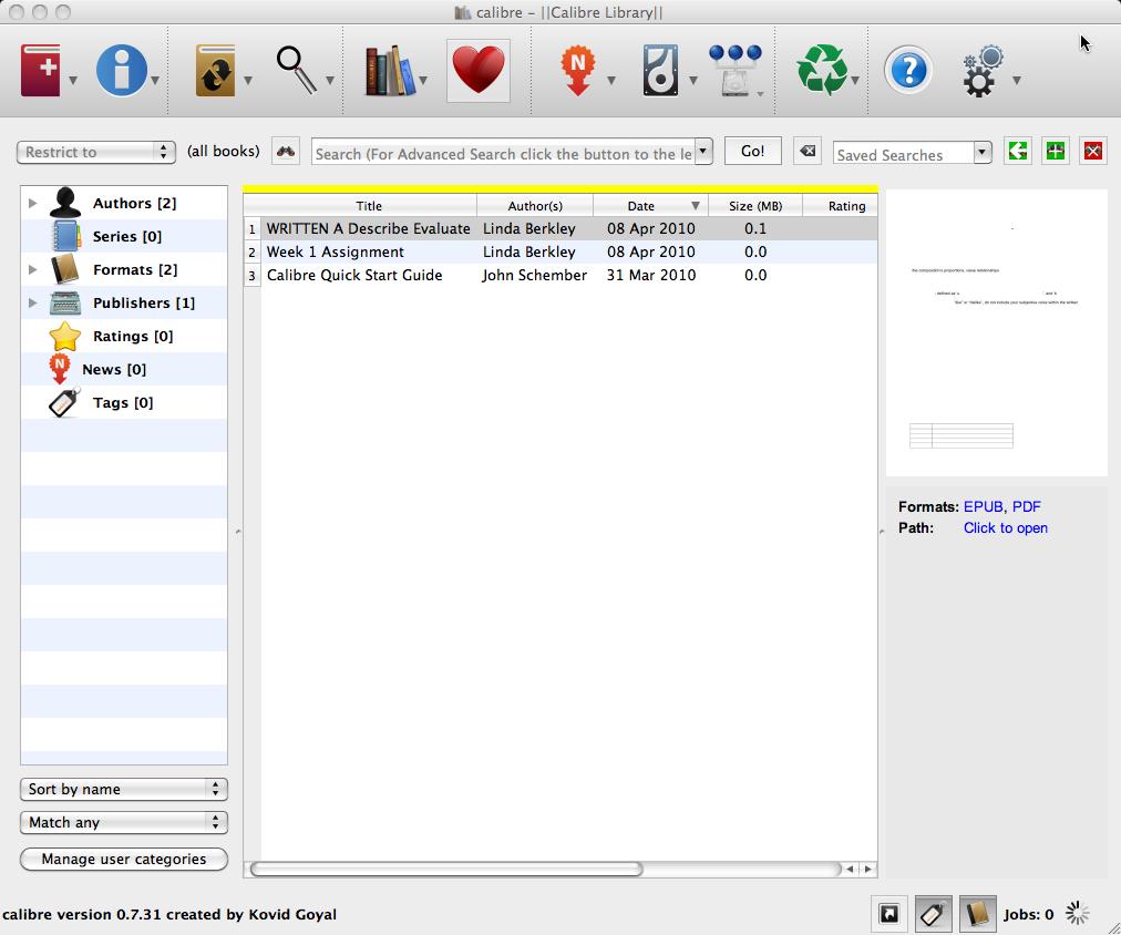 calibre 1.38.0 Mac software screenshot