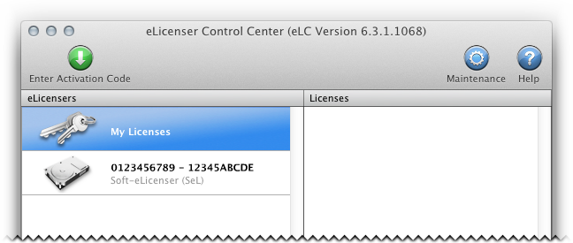 eLicenser Control 6.7.1.8142 Mac software screenshot