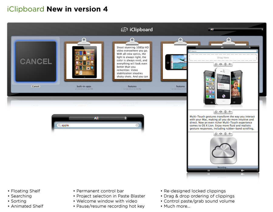 iClipboard 4.1.9 Mac software screenshot