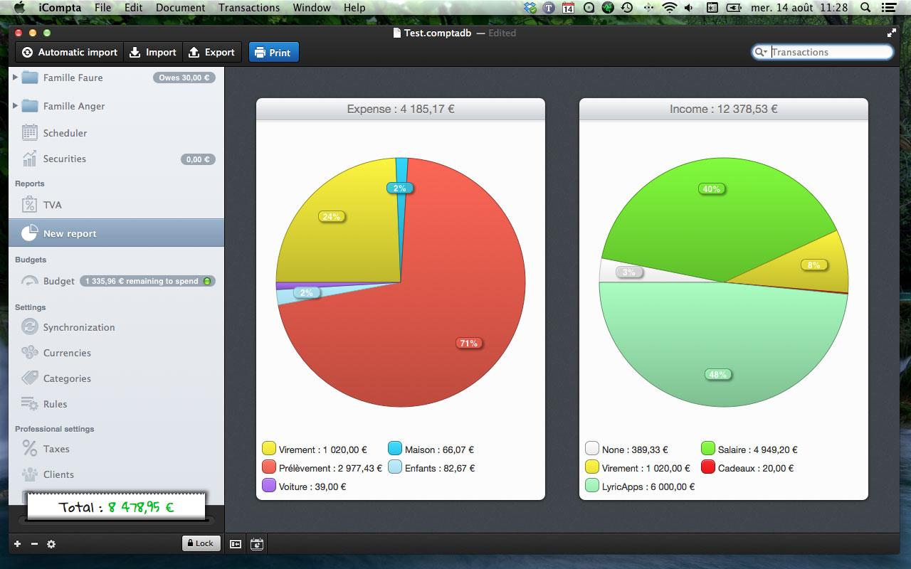 iCompta 5.0.4 Mac software screenshot