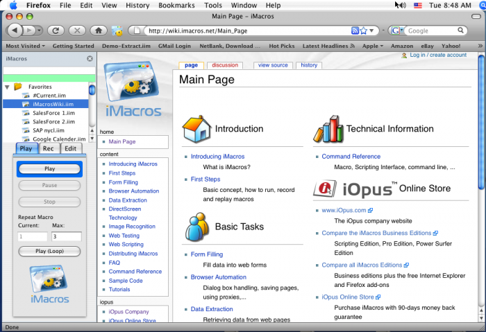 iMacros for Firefox 8.8.1 Mac software screenshot