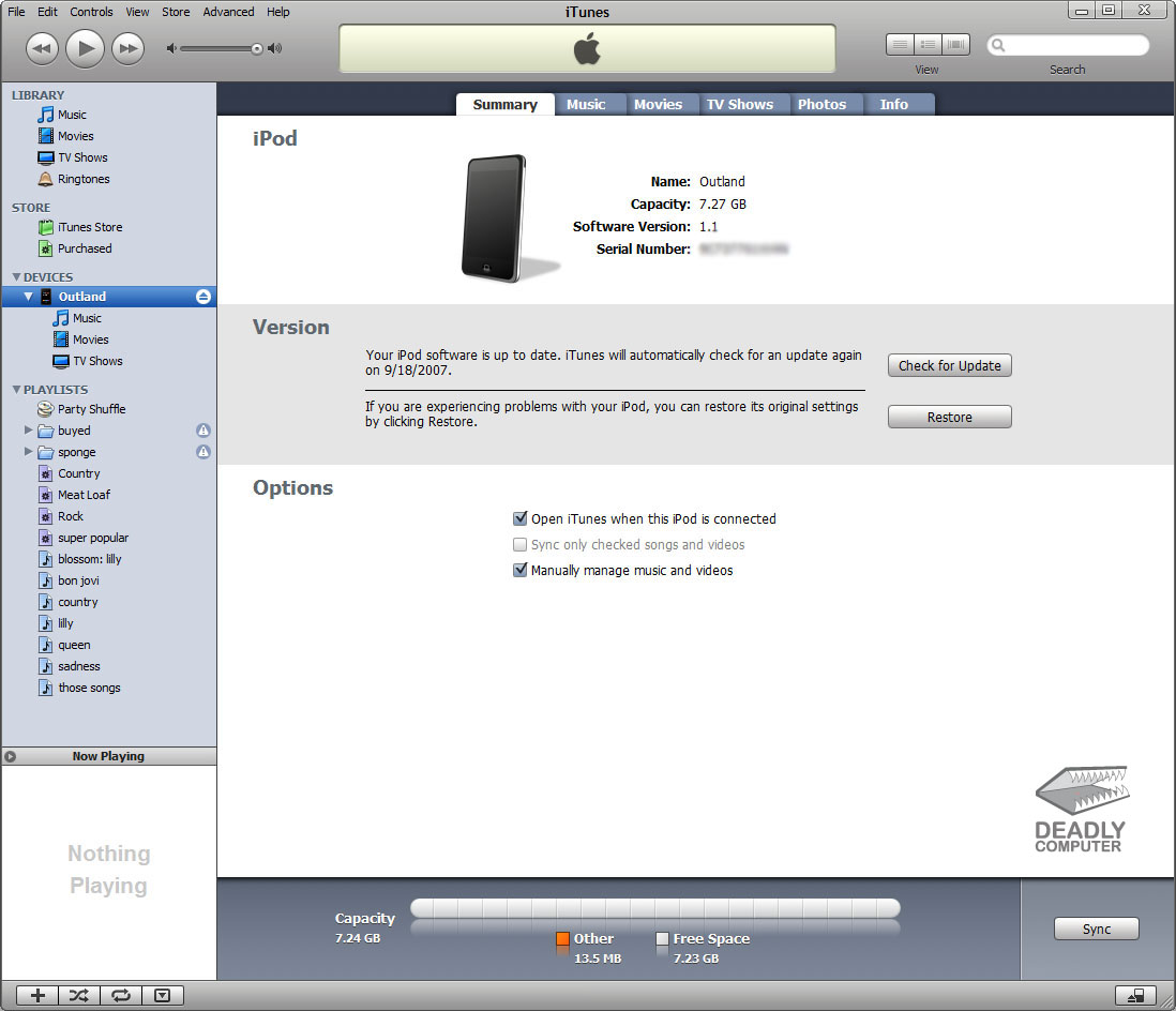iPod.iTunes 4.9.25 Mac software screenshot