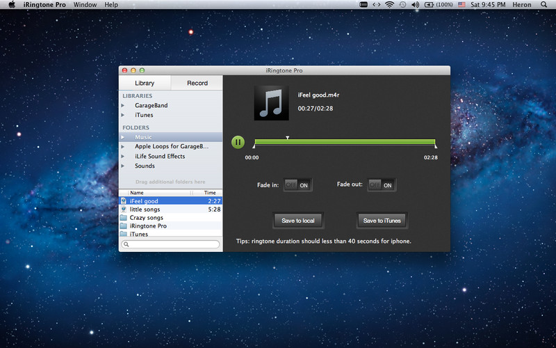 iRingtone Pro 2.0.0 Mac software screenshot
