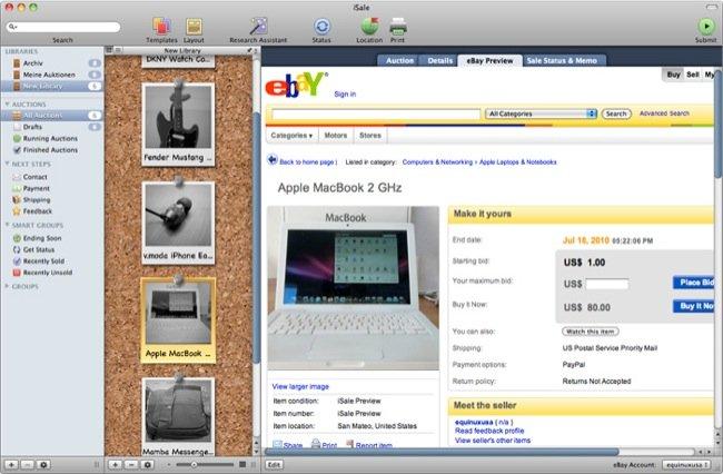 iSale 5.9.3 Mac software screenshot