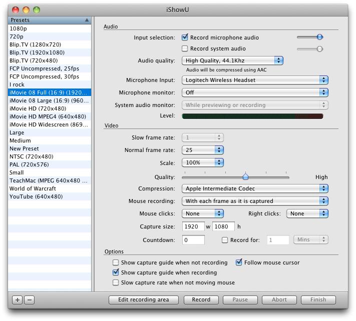 iShowU 1.92.7 Mac software screenshot
