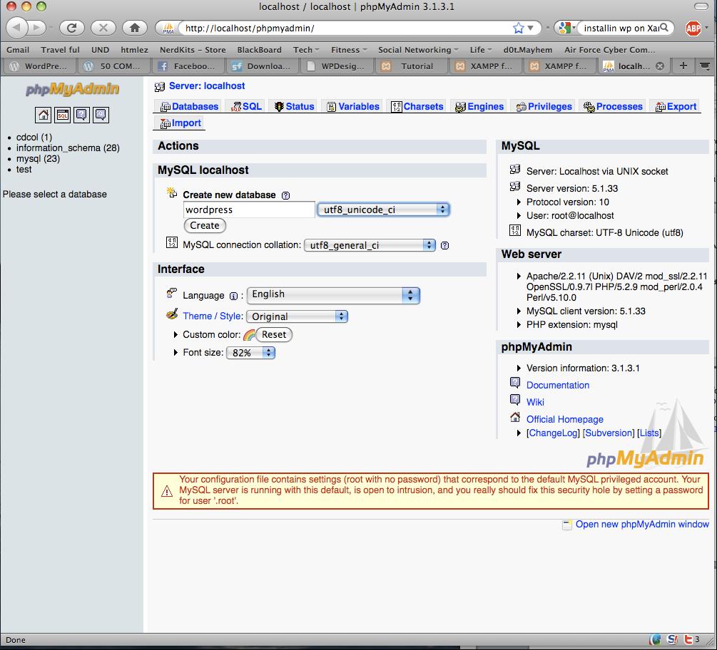 phpMyAdmin 4.2.8.0 Mac software screenshot