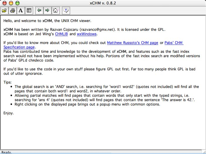 xCHM 1.24 Mac software screenshot