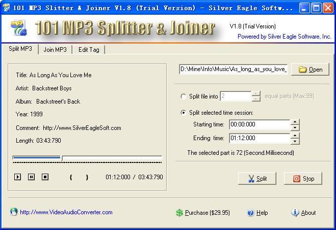 101 MP3 Splitter & Joiner 3.9.5 software screenshot
