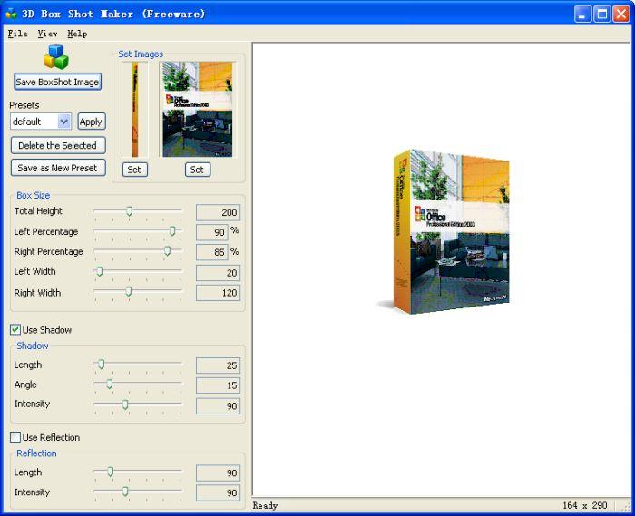 3D Box Shot Maker 1.0 software screenshot