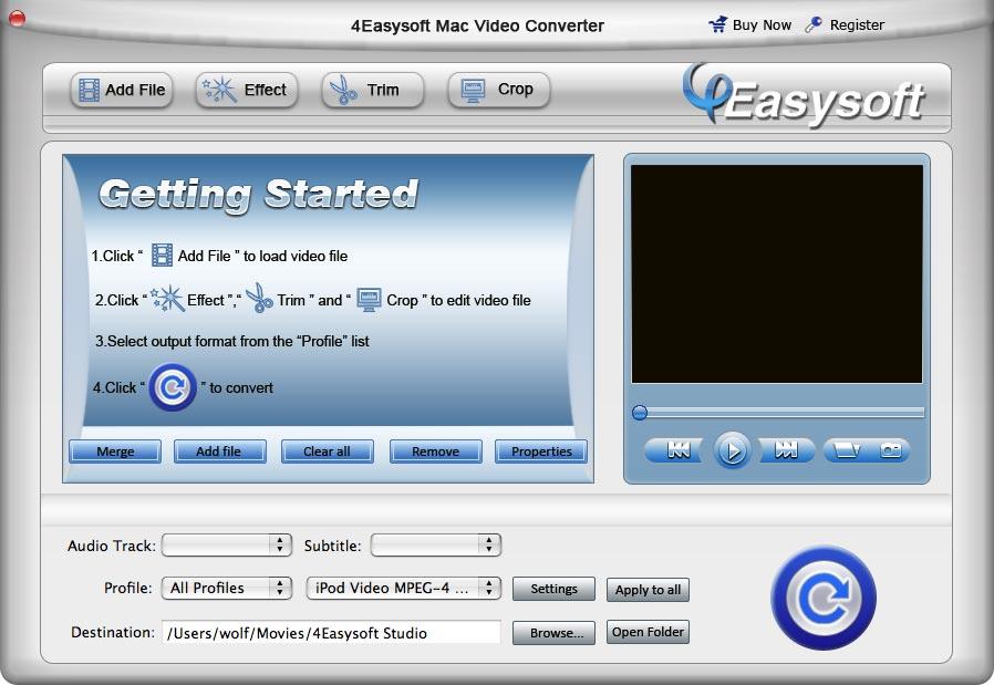 4Easysoft Mac Video Converter 4.1.02 software screenshot