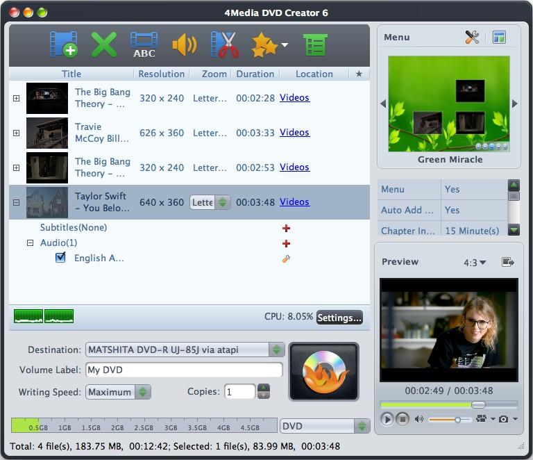 4Media DVD Creator for Mac 6.2.2.1111 software screenshot
