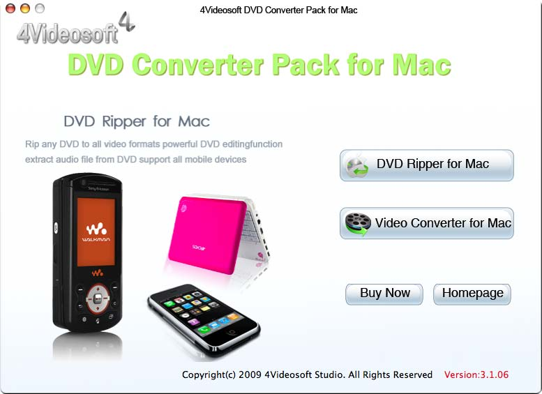 4Videosoft DVD Converter Pack for Mac 3.3.22 software screenshot