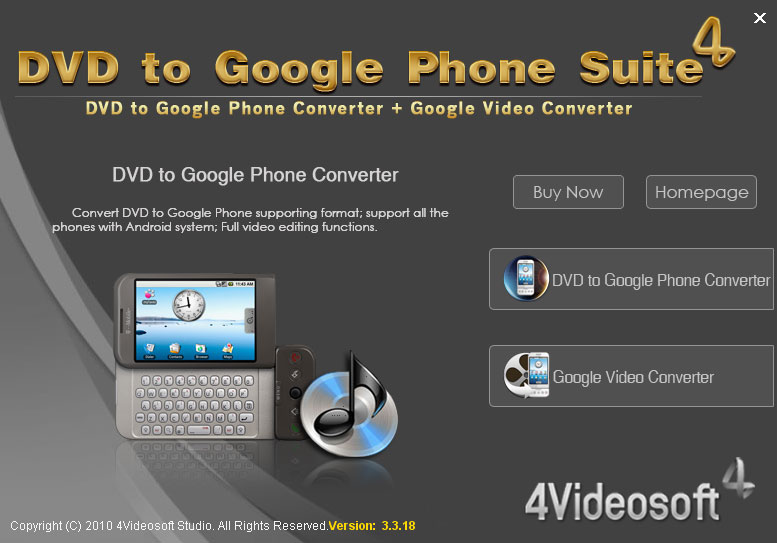 4Videosoft DVD to Google Phone Suite 3.3.16 software screenshot