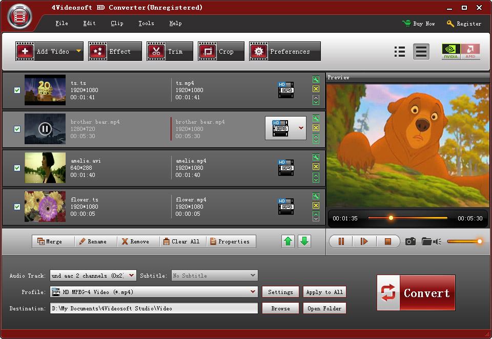 4Videosoft HD Converter 6.2.12 software screenshot