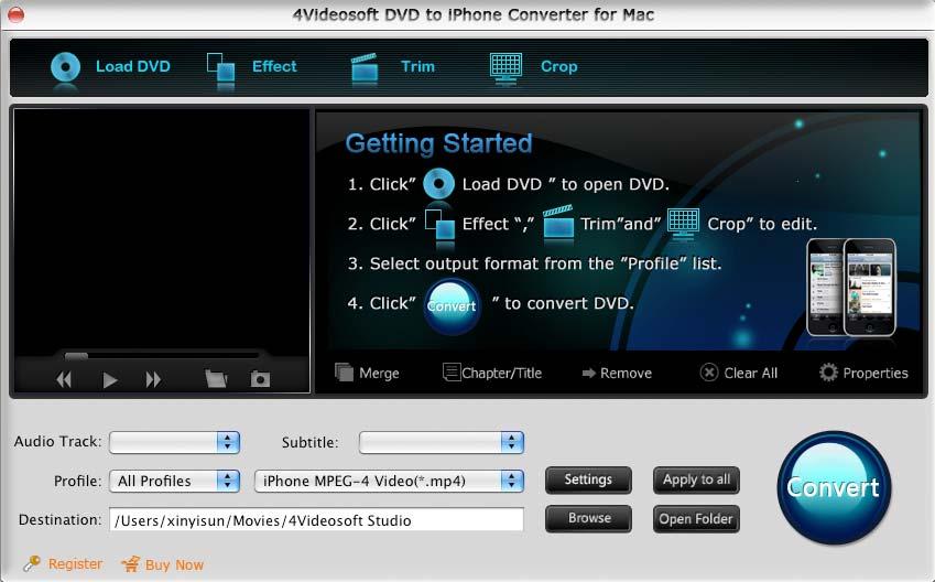 4Videosoft Mac DVD to iPhone Converter 3.1.26 software screenshot