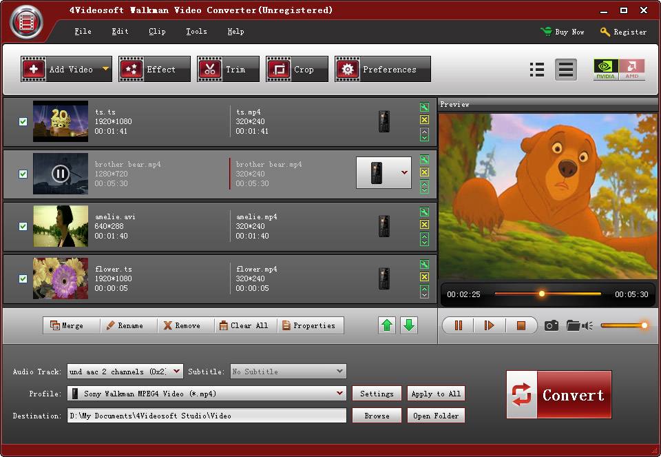 4Videosoft Walkman Video Converter 5.0.8 software screenshot