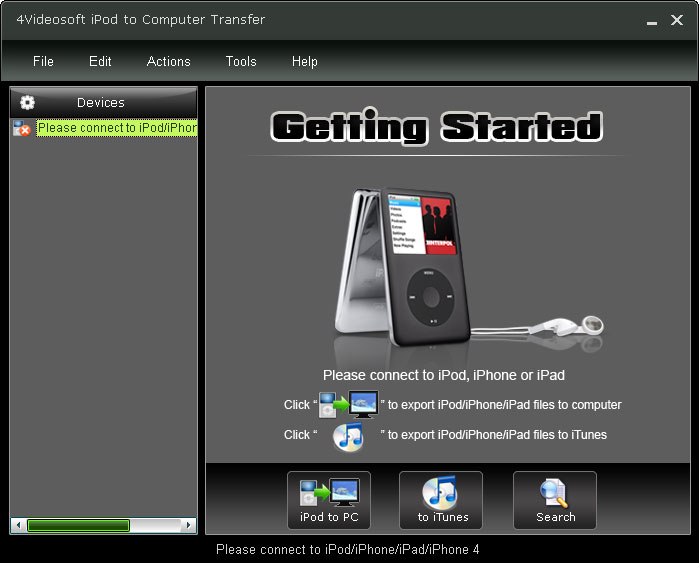 4Videosoft iPod to Computer Transfer 4.0.32 software screenshot