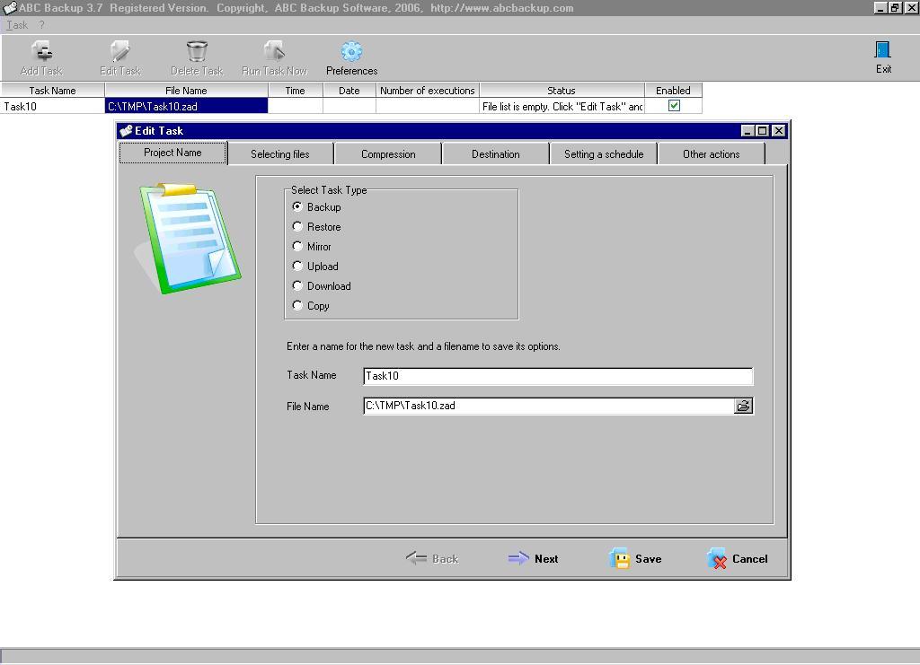 ABC Backup 5.50 software screenshot