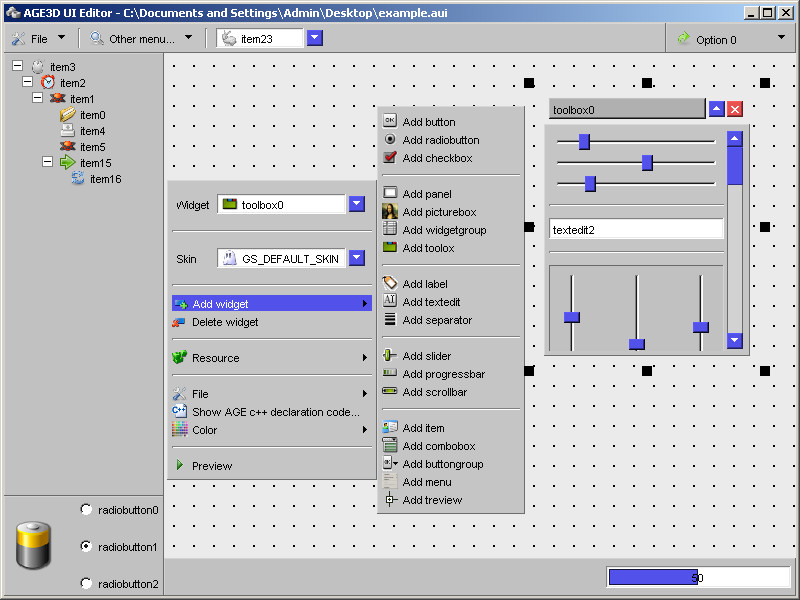 AGE UI Editor 1.0.0.0 software screenshot