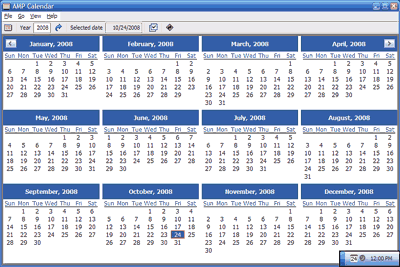 AMP Calendar 2.42 software screenshot