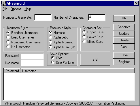 APassword 1.01 software screenshot