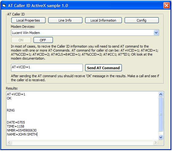 AT Caller ID ActiveX (OCX) 1.0 software screenshot