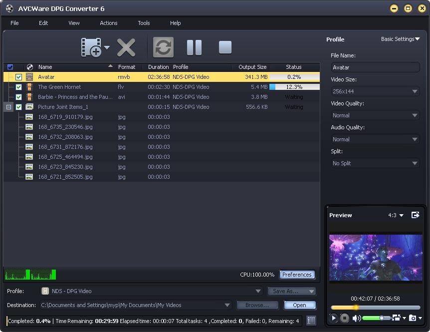 AVCWare DPG Converter 6.0.9.0910 software screenshot