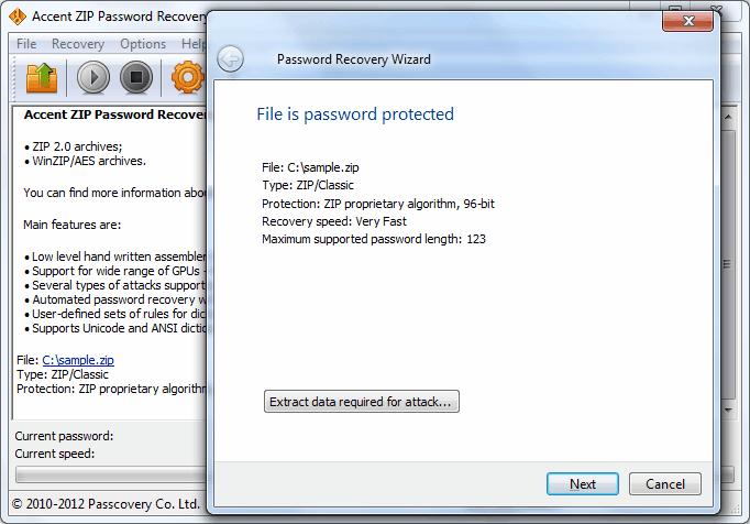 Accent ZIP Password Recovery 4.40.2751 software screenshot