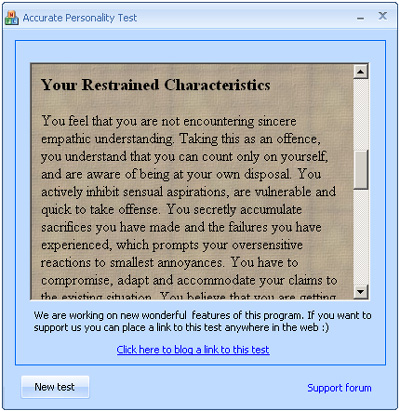 Accurate Personality Quiz 1.0 software screenshot