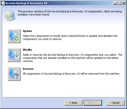 Acronis Backup & Recovery Advanced Server 11.7.44182 software screenshot