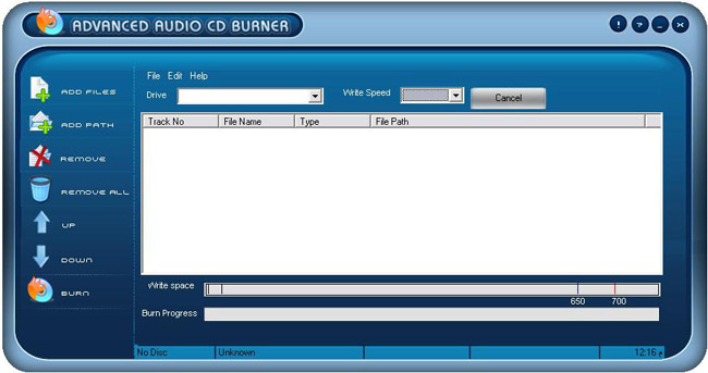 Advanced Audio CD Burner 3.3.0.6 software screenshot