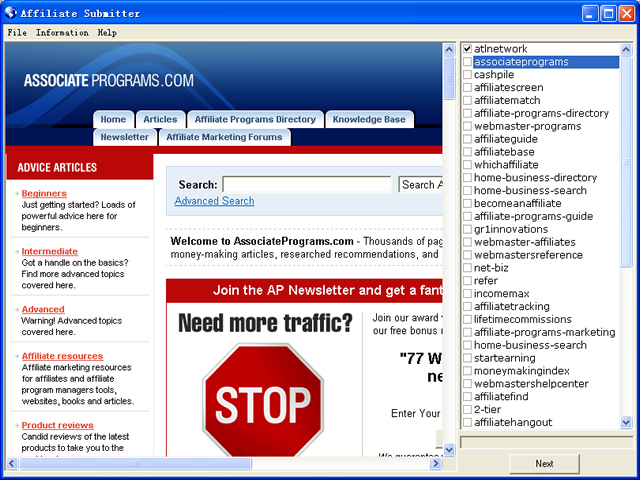 Affiliate Submitter 2.3 software screenshot