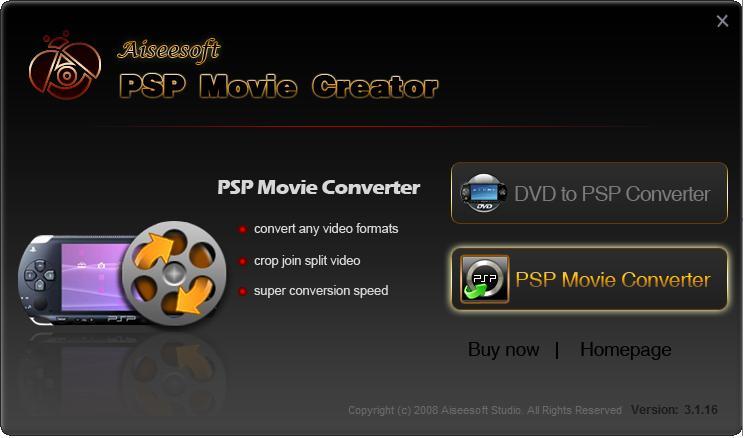 Aiseesoft PSP Movie Creator 3.1.28 software screenshot