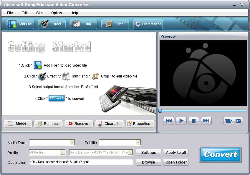 Aiseesoft Sony Ericsson Video Converter 6.2.18 software screenshot