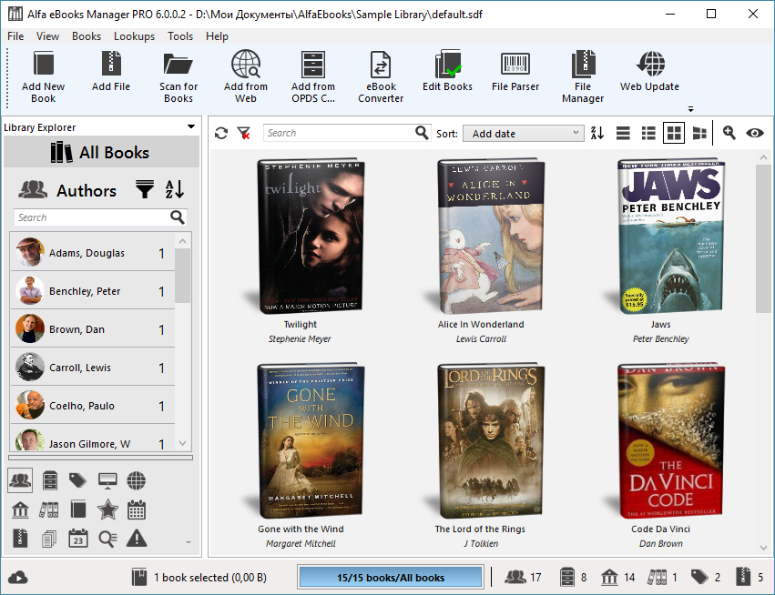 Alfa eBooks Manager 6.4.4.0 software screenshot