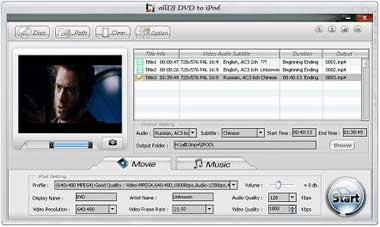Alldj DVD To iPod Ripper 3.5.10 software screenshot