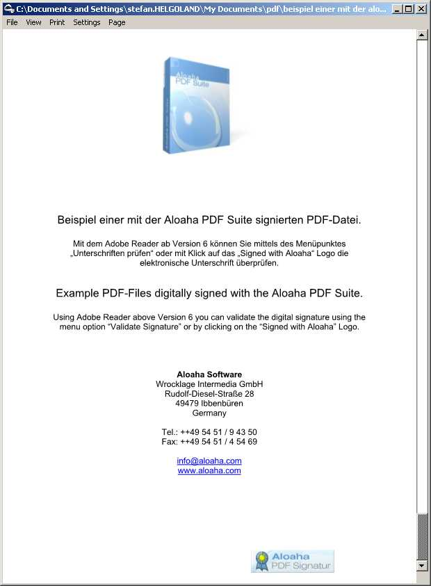 Aloaha PDF Signator 5.0.285 software screenshot