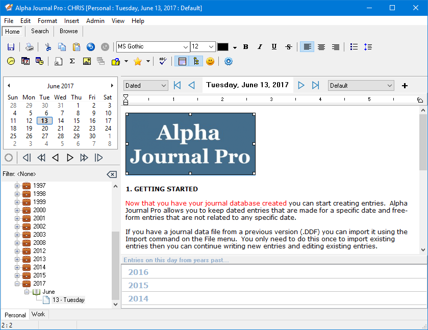 Alpha Journal Pro 6.0.0.0 software screenshot