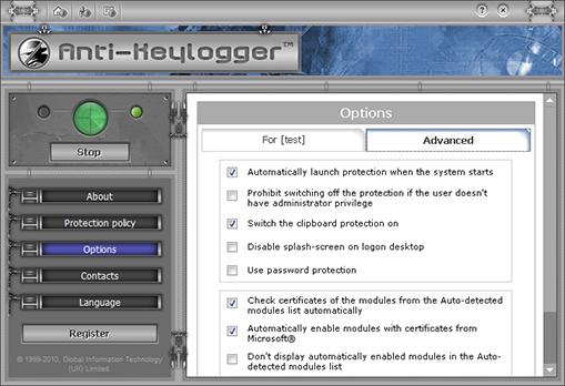 Anti-Keylogger 10.3.1 software screenshot