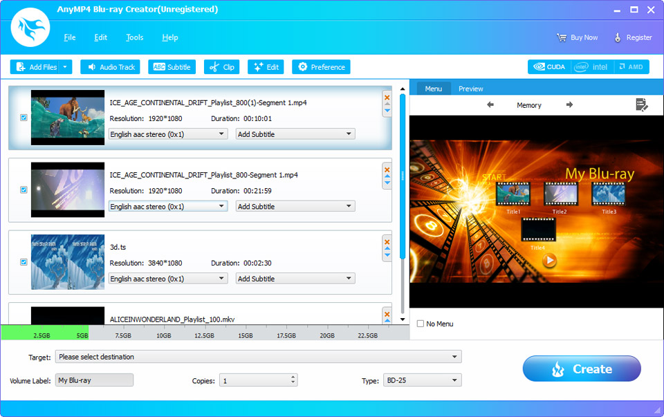AnyMP4 Blu-ray Creator 1.1.52 software screenshot